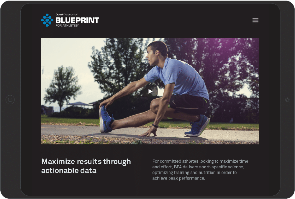 tabel with Blueprint for Athletes promo content