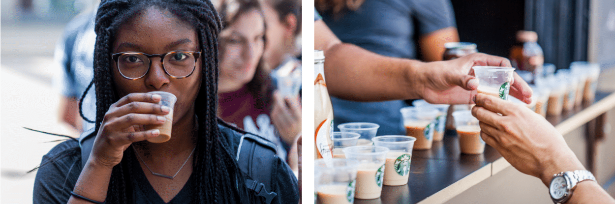 woman drinking starbucks at event and cups of samples