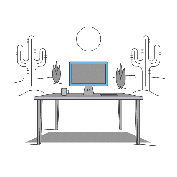 desk and computer in front of cactus icon