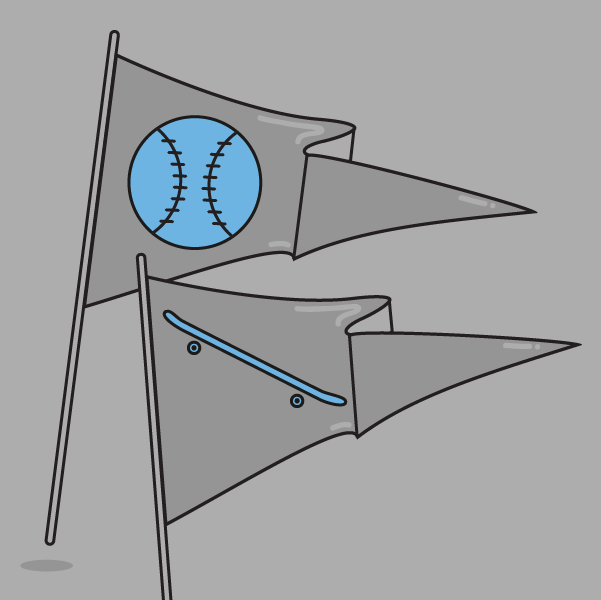 flags showing skateboard and baseball icons what happens next